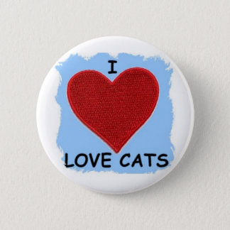 I LOVE CATS ......HEART PATCH 2 INCH ROUND BUTTON