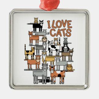 I LOVE CATS METAL ORNAMENT