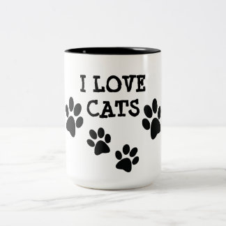 I Love Cats Pawprints Design Coffee Mug