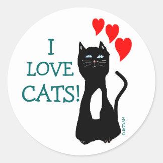 I Love Cats! Round Sticker