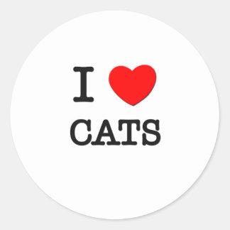 I Love Cats Round Sticker