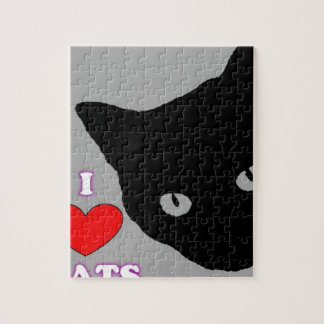 I LOVE CATS TSHIRT Happy Fun Text  & Red Heart Jigsaw Puzzle
