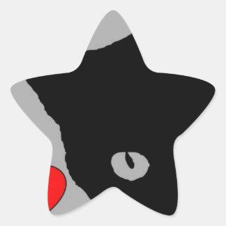 I LOVE CATS TSHIRT Happy Fun Text  & Red Heart Star Sticker