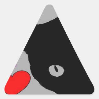 I LOVE CATS TSHIRT Happy Fun Text  & Red Heart Triangle Sticker