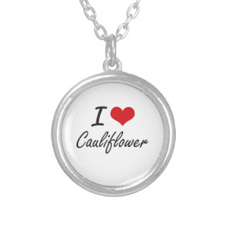 I Love Cauliflower artistic design Silver Plated Necklace