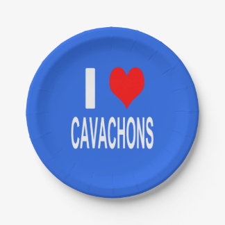 I Love Cavachons Plate, Dog Paper Plate