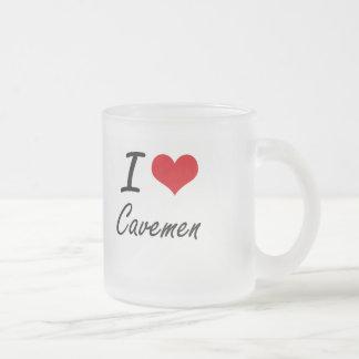 I love Cavemen Artistic Design Frosted Glass Mug