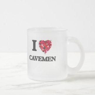 I love Cavemen Frosted Glass Mug