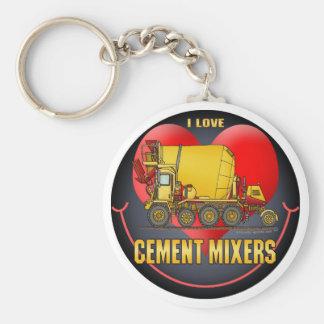 I Love Cement Mixer Trucks Key Chain