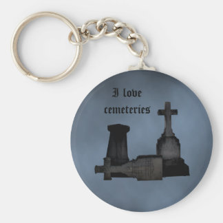 I love cemeteries gothic tombstones basic round button keychain