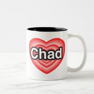 I love Chad. I love you Chad. Heart Two-Tone Coffee Mug