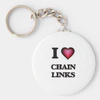 I love Chain Links Basic Round Button Keychain