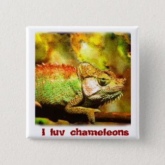 i love chameleons Digital art 2 Inch Square Button
