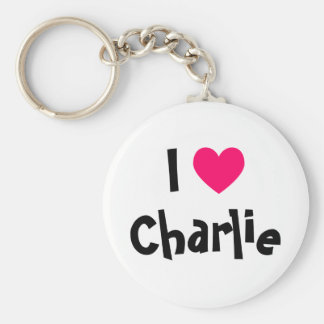 I Love Charlie Basic Round Button Keychain