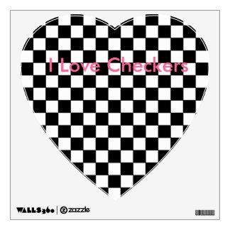 I Love Checkers Heart Decal Checkerboard B/W