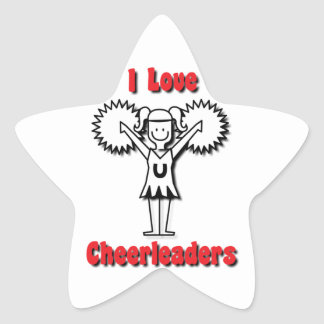 I Love Cheerleaders Star Sticker
