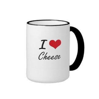 I Love Cheese artistic design Ringer Mug