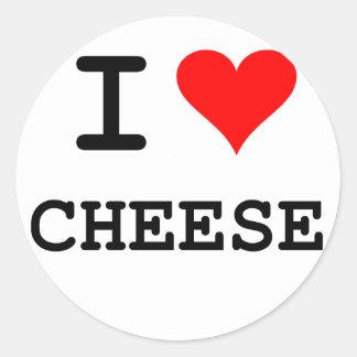 I love cheese (black lettering) round sticker
