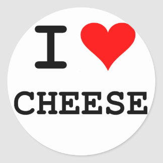 I love cheese (black lettering) round sticker