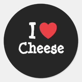 I love Cheese heart T-Shirt Round Stickers