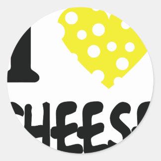 I love cheese icon round sticker