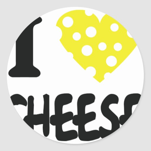 I love cheese icon round stickers