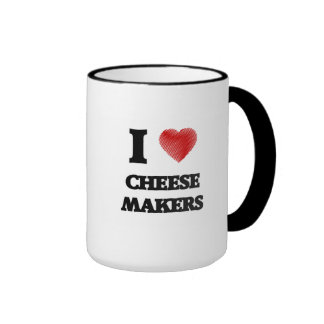 I love Cheese Makers (Heart made from words) Ringer Mug