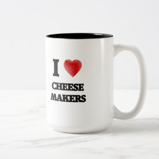 I love Cheese Makers (Heart made from words) Two-Tone Mug