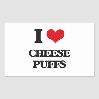 I Love Cheese Puffs Rectangle Stickers