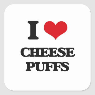 I Love Cheese Puffs Square Stickers