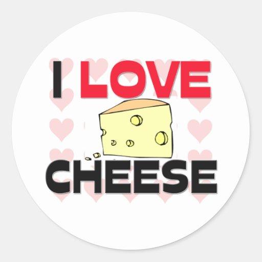 I Love Cheese Round Stickers