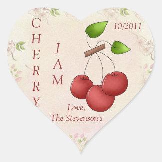 I Love Cherry Jam Jar Label (Customize) Heart Sticker