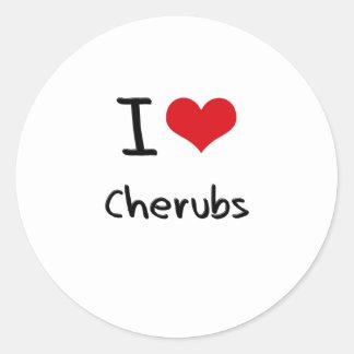 I love Cherubs Round Stickers
