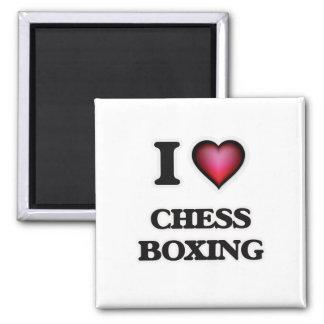 I Love Chess Boxing Square Magnet