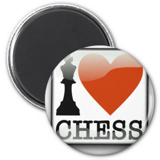 I Love Chess Sign 2 Inch Round Magnet