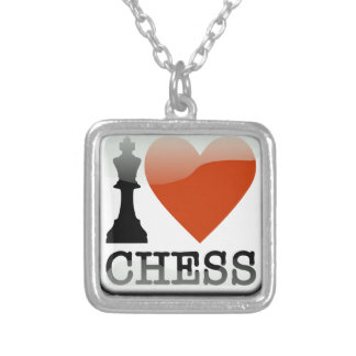 I Love Chess Sign Silver Plated Necklace