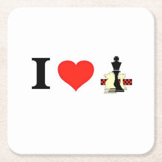 I_Love Chess Square Paper Coaster