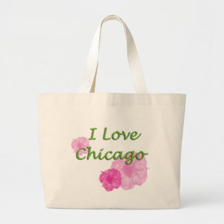 I love Chicago: Pink Watercolor Flowers Large Tote Bag
