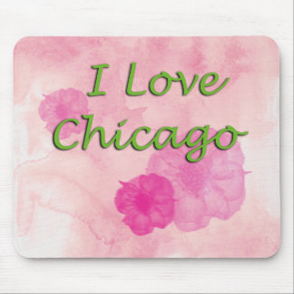 I love Chicago Pink Watercolors Mouse Pad