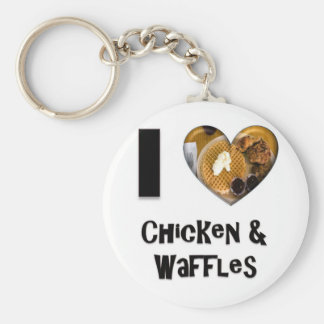 I Love Chicken and Waffles Keychain