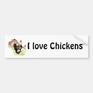 I love Chickens, Chicken & Barn Bumper Sticker