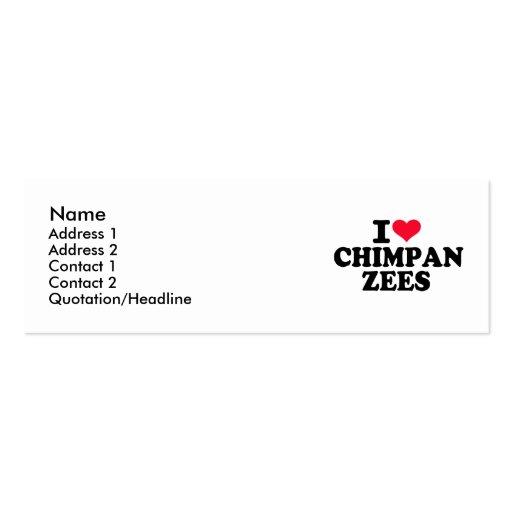 I love Chimpanzees Business Cards
