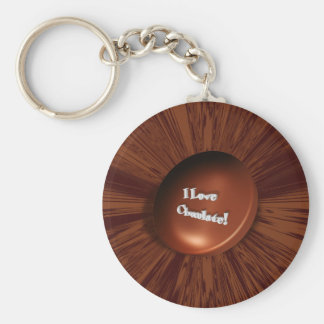 I Love Chocolate Basic Round Button Keychain