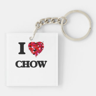I love Chow Double-Sided Square Acrylic Keychain