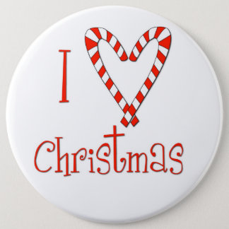 I love Christmas 6 Inch Round Button