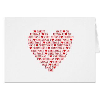 I Love Christmas Holidays Red Heart Card