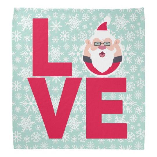 I Love Christmas Santa Snowflakes Bandana