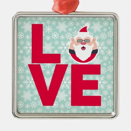 I Love Christmas Santa Snowflakes Metal Ornament