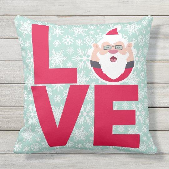I Love Christmas Santa Snowflakes Outdoor Pillow