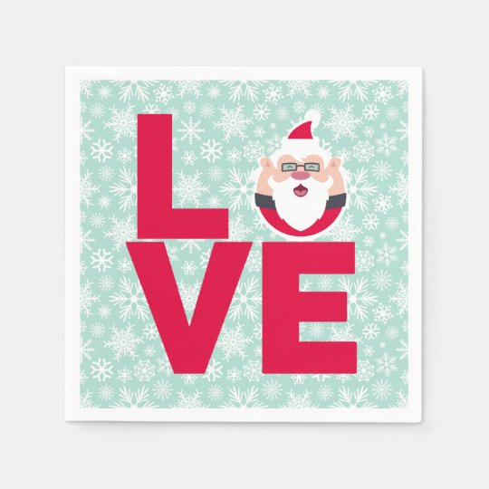 I Love Christmas Santa Snowflakes Paper Napkin